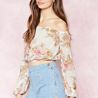Contemporary Floral Crop Top