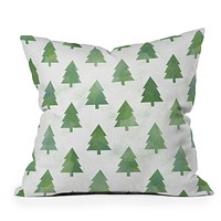 Leah Flores Pine Tree Forest Pattern Throw Pillow