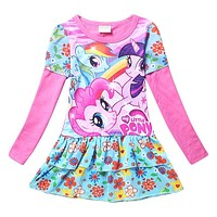 3-10Y girls dress vestidos my little girls clothes pony kids dresses for girls costume cartoon baby kids dress vestido infantil