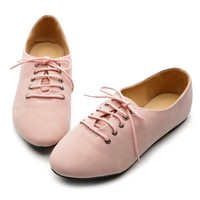 Ollio Women's Ballet Flat Shoe Lace Up Multi Color Oxford