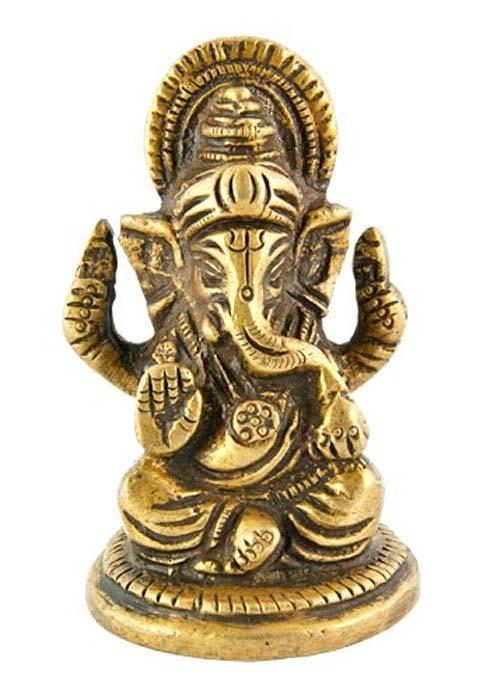"""Image of Lord Ganesh Brass Statue - 2.5""""H"""