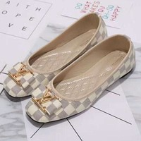 Louis Vuitton LV New fashion plaid flat shoes Big logo canvas sandals shoes women