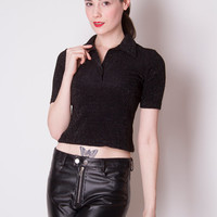 Vintage 1990s metallic cropped black and silver tiny fit short sleeve tight polo XS