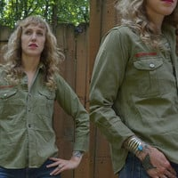 Vintage 1940's Boy Scouts Of America Classic Army Twill Field Shirt Jacket
