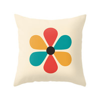 Flower Pillow, Minimal Geometry Pillow, Throw Pillows, Zipper Cover, Nice Hippie Cushion, Vintage Colors Art, Yellow, Red, Turquoise, Cream