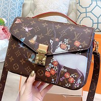 LV New fashion monogram print leather shoulder bag crossbody bag handbag Coffee