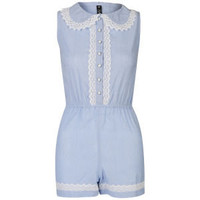 Influence Women's Chambray and Lace Playsuit - Light Blue