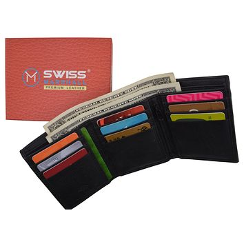 Leather RFID Blocking Trifold Credit Card Mens Wallet W/Outside ID Window & Box