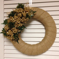 "12"" Christmas Wreath, Gold Toned Burlap Wreath with Gold Berries and Greenery, Holiday Wreath, Modern Wreath"