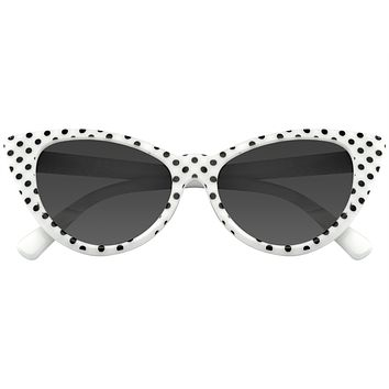 Polka Dot Cat Eye Womens Fashion Mod Super Cat Sunglasses