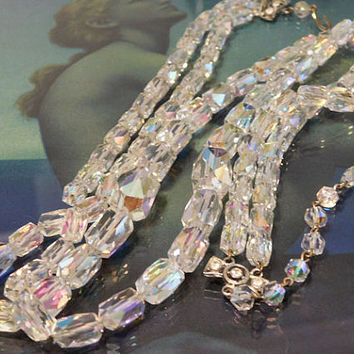 Swarovski Austrian Crystal Necklace AB Aurora Borealis Double Strand 1950s 50s Mid Century Chain Strung Art Deco Revival Christmas Wedding
