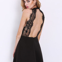 Sexy Black Lace Backless Party Dress