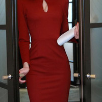 Red Long Sleeve Cut Out Bodycon Dress