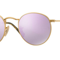 Ray Ban Round Metal Sunglass Gold with Light Purple Mirrored Lenses RB3447N 001/8o