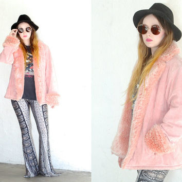 Vintage SUEDE Pastel Pink FAUX FUR Button Jacket Coat // Fur Trim Collar Sleeve // Boho Gypsy Hippie Hipster Grunge // Small / Medium