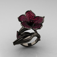 Designer Exclusive 14K Black Gold Pink Sapphire by artmasters