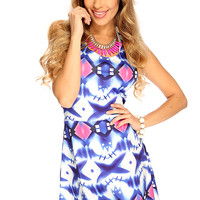 Royal Blue White Printed Pattern Backless Sexy Cute A-Line Party Dress