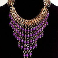 Purple bauble necklace - egyptian inspired bib necklace - chainmaille statement necklace - purple beaded jewelry - purple and gold necklace