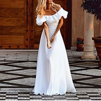 2016 Summer Women Sexy Off Shoulder Dress Slash Neck Short Sleeve High Waist Elegant Chiffon Beach Maxi Long Dress Vestidos