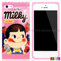 Japan Peko Milky Candy Package Strawberry Pink Phone Case For iPhone 5S 5 4S 4