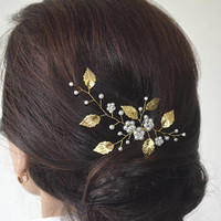 Gold Leaf Hair Pin, Pearl Bridal Pin, Wedding Hair Pins, Bridal Hair Pins, Floral Hair Piece, Pearl Headpiece, Crystal Hair Pin, Pearl pins
