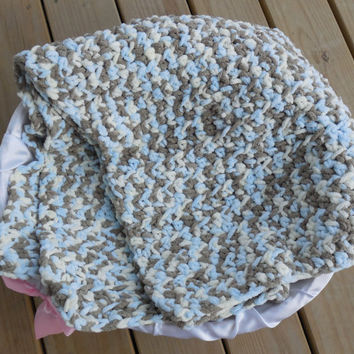 Crochet Baby Blanket, Blue, Cream and Brown Camo Photo Prop, Baby Boy Soft Afghan, Crib Sized Afghan, Handmade Crochet Afghan