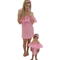 Mommy and Me Pink Off the Shoulder Ruffle Matching Dresses for Mom and Baby