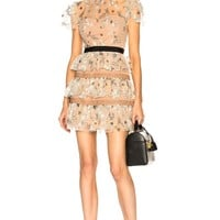 Stars Embroidered Lace Ruffled Min Dress