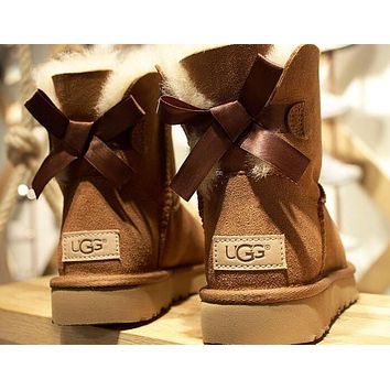 """""""UGG"""" Trending Women Stylish Cute Bow Wool Snow Boots Brown I/A"""