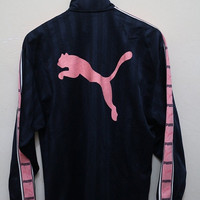 25% OFF Vintage PUMA Zipper Jacket Dark Blue + Pink Size S-M