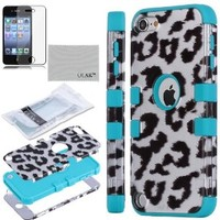Pandamimi ULAK(TM) Hard Impact Armor Hybrid Rubberize Leopard Case Cover with Silicone Inner Shell for Apple iPod Touch 5 5th + Screen Protector (Blue & Black Leopard Pattern)