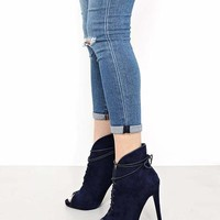 Curved Navy Peep Toe Booties