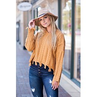 It's Sweater Weather Knit Distressed Sweater : Mustard