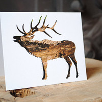 Elk Holiday Card : Animal Silhouette In Bark - Recycled, Eco Friendly Christmas Greeting - Antler Art, Nature Photography, WildPulp