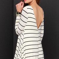 Swing Along Black and Ivory Striped Long Sleeve Dress