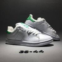 """Adidas Stan Smith"" Unisex Casual Fashion Classic Plush Keep Warm Genuine Leather Plate Shoes Sneakers Couple Small White Shoes"