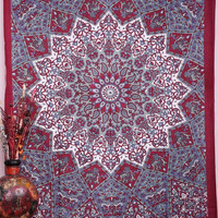 Large Hippie Tapestry, Hippy Mandala Bohemian Tapestries, Indian Dorm Decor, Psychedelic Tapestry Wall Hanging Ethnic Decorative Tapestry, 85 X 90 Inches