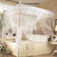 Three Door Lace Princess Mosquito Net Double Bed Curtains Sleeping Curtain Bed Canopy Net Full Queen King Bedding Netting