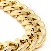 King Ice 18mm Yellow Gold Cuban Curb Chain