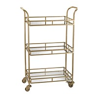 Julep Bar Cart in Gold with Mirrored Shelves