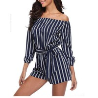 Women's Blue & White Stripe Off Shoulder Jumpsuit Romper