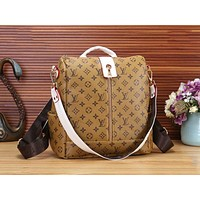 LV Louis Vuitton Popular Monogram Leather Travel Bookbag Shoulder Bag Single Zipper Backpack Yellow LV Print I-WMXB-PFSH