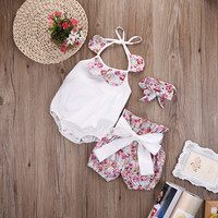 Hot Sale Newborn Infant Baby Girl Floral Bodysuit + Shorts Bottoms Headband 3pcs Outfits Set Clothes High Quality Summer 2016