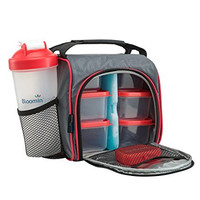 BloominGoods Meal Prep Bag, Lunch Box with Leakproof Portion Control Container Set, Reusable Ice Pack, Shaker Bottle and Vitamin Pocket for Healthy Meals All Day (Red)