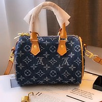 Free shipping / LV denim canvas jacquard women's handbag tote bag