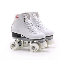 Two Row Roller Skates Shoes Double Line Skates White Women Female Lady Adult 85A PU Wheels Two Line Patines Roller Sneakers IB89