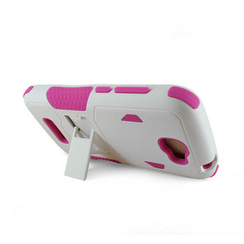 Alcatel OT7040T (One Touch Fierce 2)/ Pop Icon White PC + Pink Silicone Armor Case w/Stand