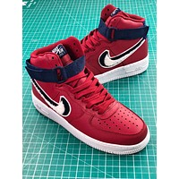 Nike Air Force 1 High Chenille Swoosh Red Sport Shoes