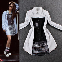 Solid Lapel Collar Long Sleeve Cardigan   Printed Mini Dress