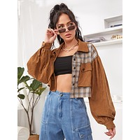 Spliced Plaid Flap Pocket Crop Corduroy Jacket